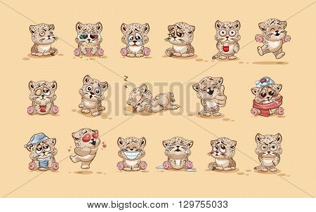 Set Vector Stock Illustrations isolated Emoji character cartoon Leopard cub sticker emoticons with different emotions for site, info graphic, video, animation, website, e-mail, newsletter, report, comic