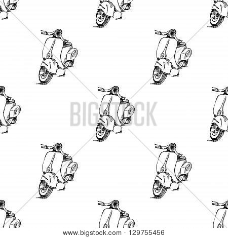 Scooter motorbike Vespa. Hand drawn vector stock illustration