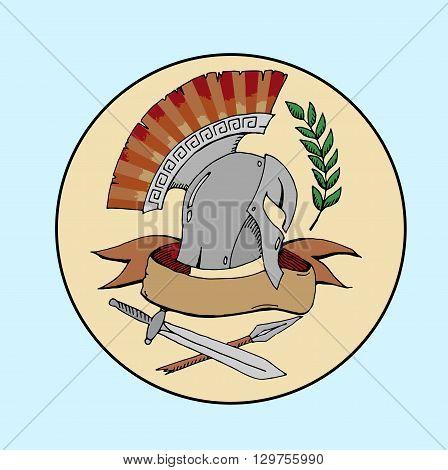 Sparta logo. Hand drawn vector stock illustraton