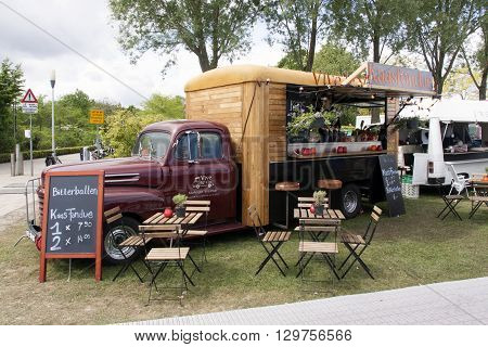 Amsterdam Netherlands-May 15 2016: classic ford foodtruck in Amsterdam