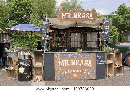 Amsterdam Netherlands-May 15 2016: mr brassa food truck in amsterdam