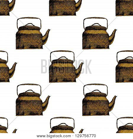 Teapot seamless background pattern. Hand drawn vector stock illustration