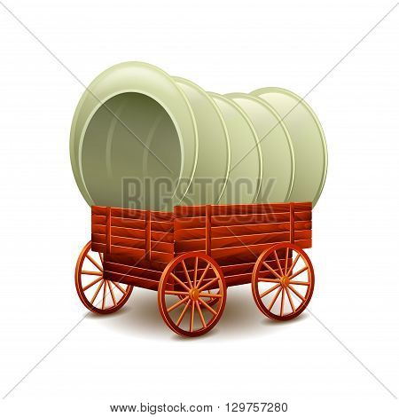 Old wagon isolated on white photo-realistic vector illustration