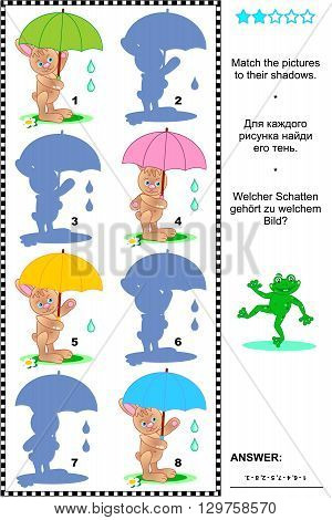Visual puzzle or shadow game: Match the pictures of rainy day bunnies with colorful umbrellas to their shadows. Answer included.