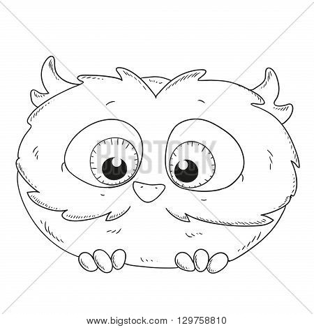 Cute cartoon owlet. Owl character for coloring book vector