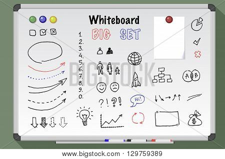 Big whiteboard set. Whiteboard drawn icon, arrows digits lines set. White board markers.