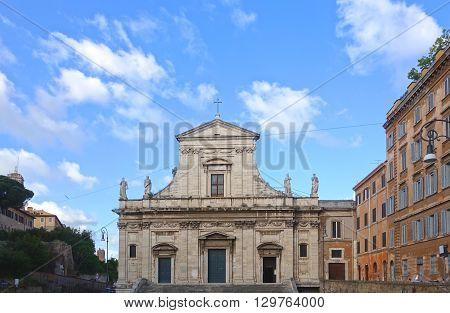 ROME ITALY - MAY 1 2016: Santa Maria della Consolazione Roman Catholic church in rione Campitelli at the foot of the Palatine Hill