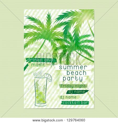 Summer Beach Party template with cocktail and palm trees. Summer Party Flyer Beach Party Poster or Retro Invitation design. Layout in A3 size.