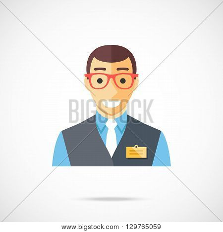 Sales assistant icon. Clerk, cashier, store worker, bank employee, manager, shop consultant concepts. Happy smiling white man wearing store uniform and badge. Trendy flat design vector illustration