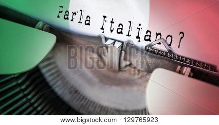 parla italiano against digitally generated italian national flag