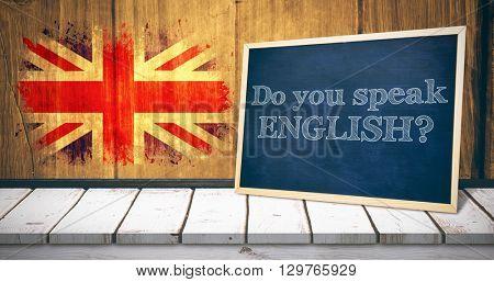 do you speak english against union jack flag in grunge effect