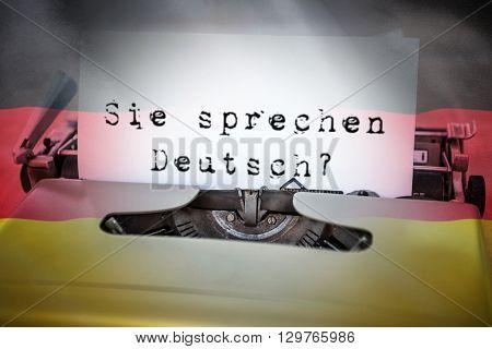 sie sprechen deutsch against digitally generated german national flag