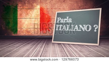 parla italiano against italy flag in grunge effect