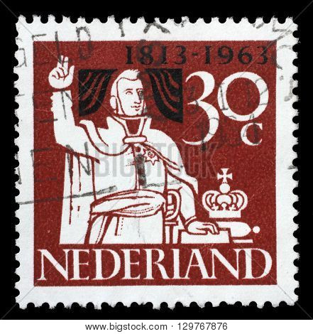 ZAGREB, CROATIA - JUNE 24: stamp printed in the Netherlands shows Prince William Taking Oath of Allegiance, 150th Anniversary of the Kingdom of the Netherlands, circa 1963, on June 24, 2014, Zagreb