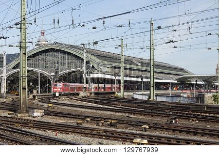 Cologne Central Station And A Train, Germany, Editorial