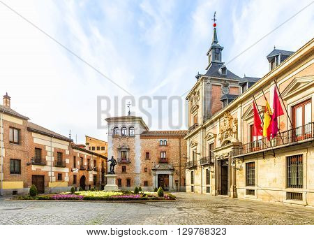 Plaza De La Villa In The Old Town Of Madrid. Spain.