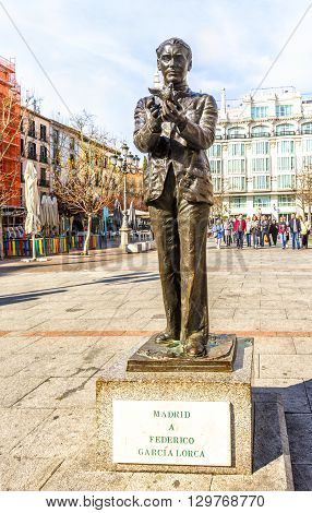 Statue To Spanish Poet  Federico Garcia Lorca In Madrid