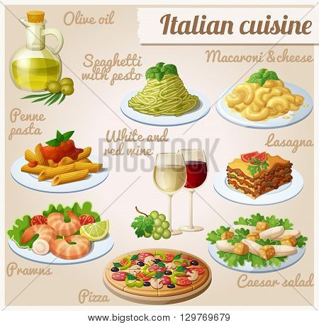 Set of food icons. Italian cuisine. Spaghetti with pesto, lasagna, penne pasta with tomato sauce, pizza, olive oil, macaroni and cheese, red and white wine in glasses, prawns, caesar salad
