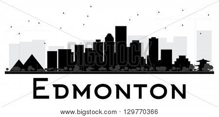 Edmonton City skyline black and white silhouette. Vector illustration. Simple flat concept for tourism presentation, banner, placard or web site. Business travel concept. Isolated Edmonton