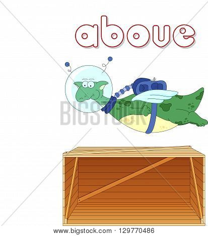 Cartoon Dragon Astronaut Flies Above The Box. English Grammar In Pictures