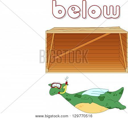 Cartoon Dragon Diver Floats Below The Box. English Grammar In Pictures
