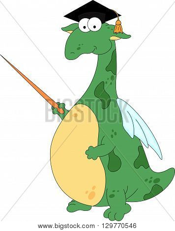 Cartoon Magister Dragon With A Pointer