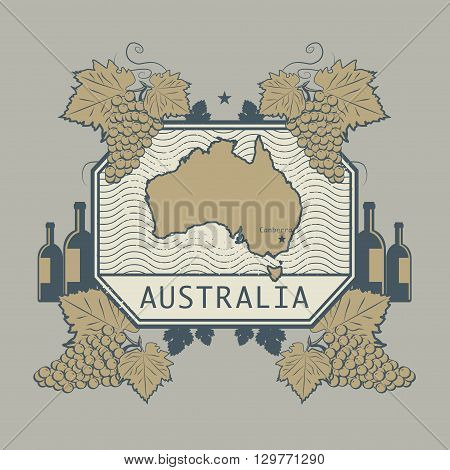 Vintage wine label with Australia map, vector illustration