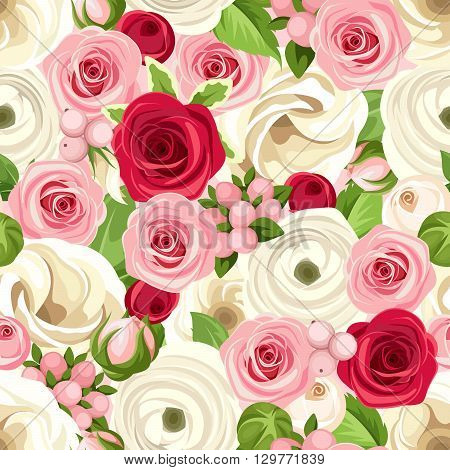 Vector seamless background with red, pink and white roses, lisianthuses and ranunculus flowers and green leaves.