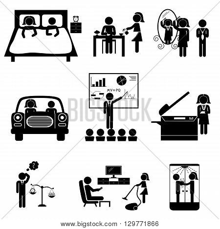 Office daily routine life of married couple (man and woman sticks). Vector icons set isolated on white