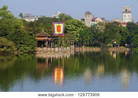 HANOI, VIETNAM - DECEMBER 13, 2015: View of the Jade temple on a sunny day. Historical landmark of the city Hanoi, Vietnam