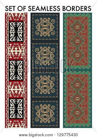 Set os seamles aian ornaments collection. Historically ornamental of nomadic people. It based on real-Kazakh carpets of felt and wool. Mirror-symmetric illustrations. Region Of Shymkent