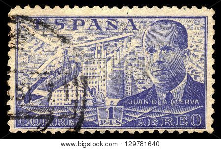SPAIN - CIRCA 1939: A stamp printed by Spain, shows Juan de la Cierva and Autogiro, was a Spanish civil engineer, pilot and aeronautical engineer, blue, circa 1939