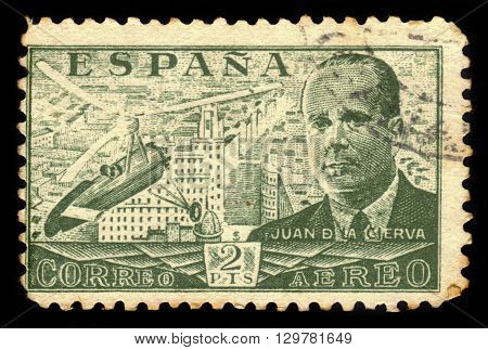 SPAIN - CIRCA 1939: A stamp printed by Spain, shows Juan de la Cierva and Autogiro, was a Spanish civil engineer, pilot and aeronautical engineer, green, circa 1939
