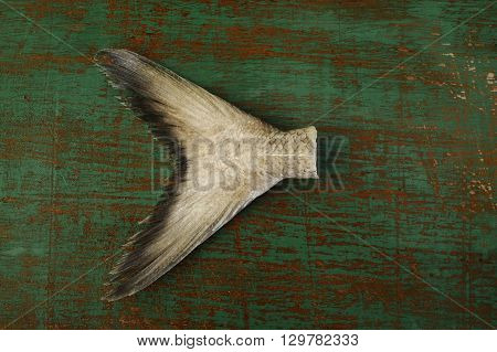 fish tail seafood on old wooden background