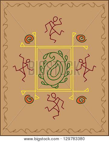 Folk, Tribal Design, Motif, Wall Painting Vector Art