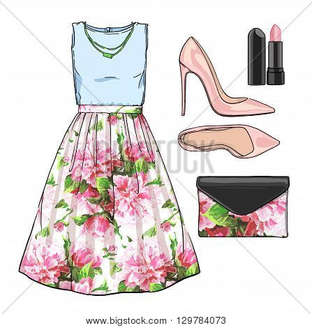 Lady fashion set of spring, winter season outfit. Illustration stylish and trendy clothing. Dress, bag, accessories, sunglasses, high heel shoes. Flower peony watercolor romantic pattern
