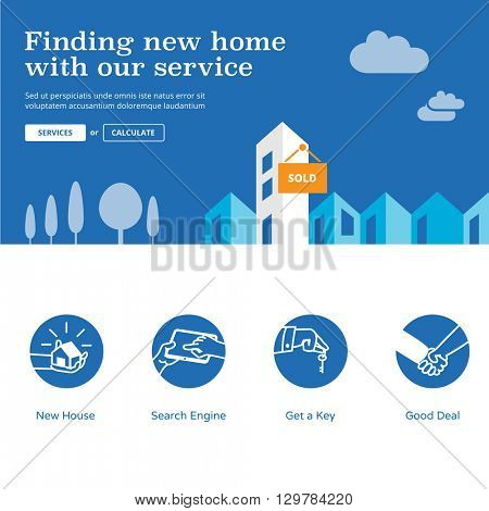 Home finder website design elements. Housing website illustration and services icons - Find new home with our service.