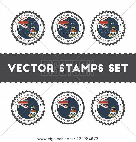 I Love Cayman Islands Vector Stamps Set. Retro Patriotic Country Flag Badges. National Flags Vintage