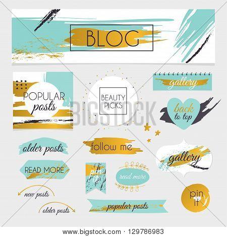 A set of blog design elements kit. Frames dividers decorative elements such as logo.