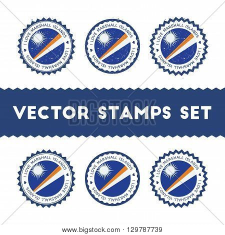 I Love Marshall Islands Vector Stamps Set. Retro Patriotic Country Flag Badges. National Flags Vinta
