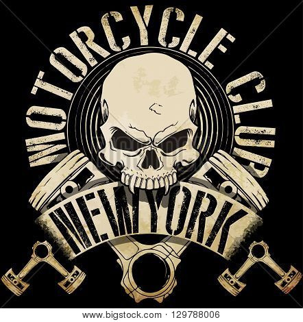 Vintage Biker Skull Emblem Tee Graphic fashion style