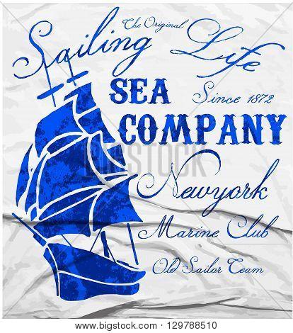 Old ship marine club watercolor tee graphic design