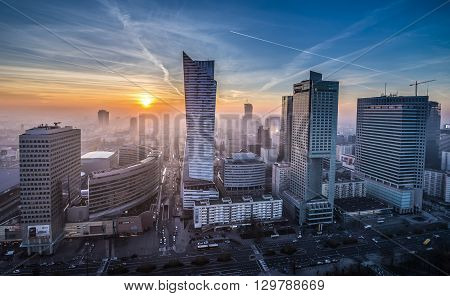 WARSAW POLAND - NOVEMBER 3 2015. Aerial view with Golden Terraces Zlota 44 skyscraper Warsaw Towers InterContinental Hotel Warsaw Financial Center in Warsaw