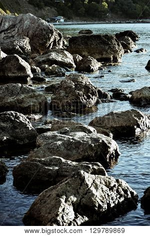 stones in the water near the shore filter