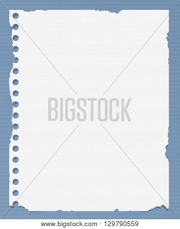 Ripped white blank notebook paper is on striped blue table surface.