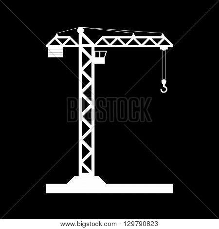 Building Tower crane icon - vector, flat design. Eps 10.