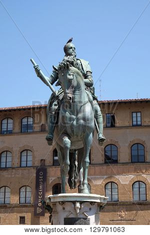 FLORENCE, ITALY - JUNE 05: The statue of Cosimo I de Medici on Piazza della Signoria in Florence, Italy on June 05, 2015