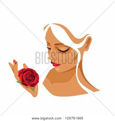 face of the girl holding in hand a red rose on a white background