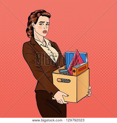 Fired Woman Holding Box with Belongings. Pop Art Vector illustration