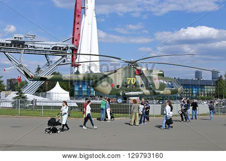 MOSCOW, RUSSIA - MAY 7, 2016: Battle military Russian helicopter MI-8 at the Russian Exhibition Center in Moscow